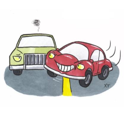 拥堵路口,面对前后两个夹塞变道的不同态度!